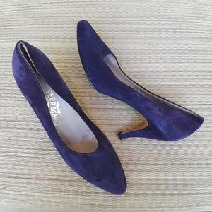 Salvatore Ferragamo Purple Suede Pumps 10 B